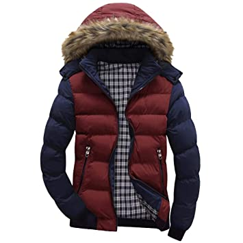 Men Winter Warm CoatMens Winter Warm Hooded Zipped Thick Solid Fleece Coat Cotton-Padded Jacket