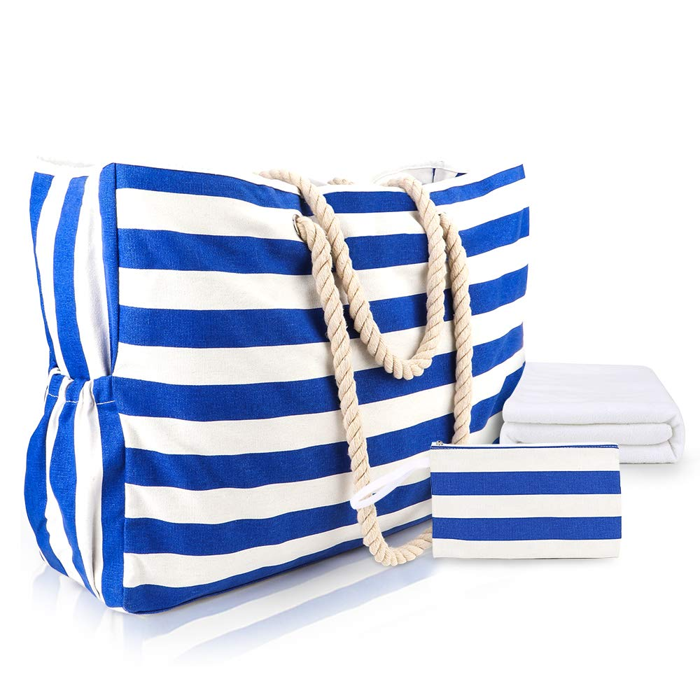 Beach Bag and Totes Extra Large Waterproof Canvas Cotton Rope Handle Gift Towel