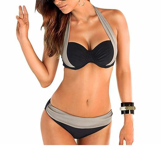 Bikini et Maillot de Bain Deux Piece pas cher Taille Bas/Haute de superieure Qualite Agrandissant Pour Femme (L, Gris et noir)
