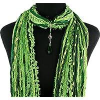 St Patrick's Day Shamrock Scarf Necklace ~ Irish Four Leaf Clover ~ Green Crystal Pendant ~ Color Choice ~ Quality Fibers ~ Detachable Pendant Option