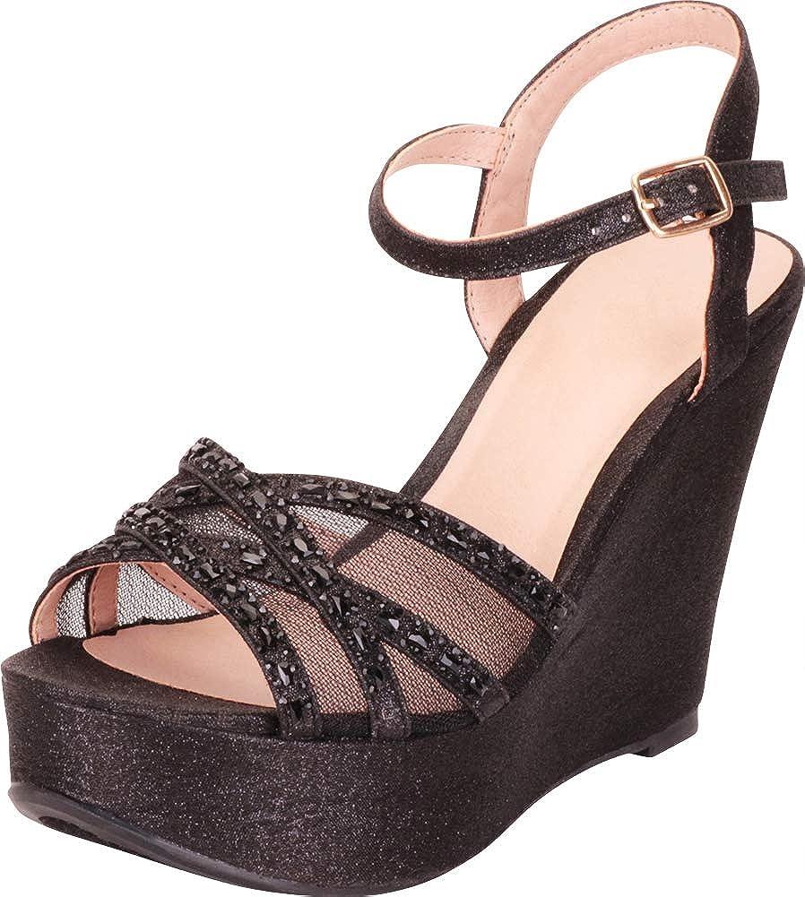 Black Glitter Cambridge Select Women's Crisscross Mesh Crystal Rhinestone Chunky Platform Dress Wedge Sandal