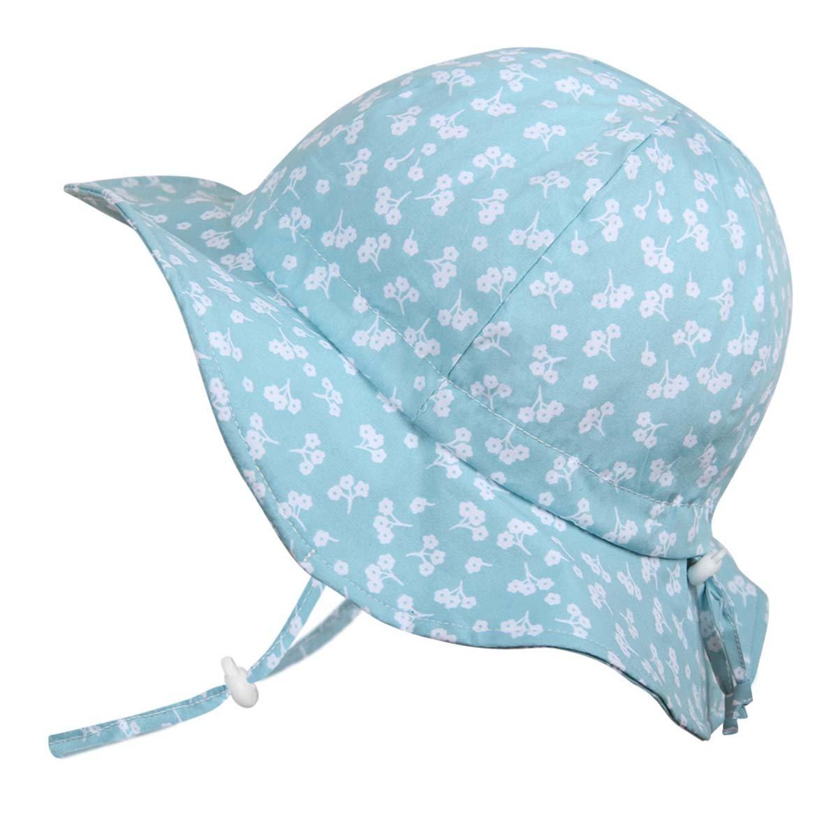 JAN & JUL Toddler Girls Breathable Flower Sun Hat 50 UPF, Adjustable with Tie, Foldable (M: 6-24m, Floppy Hat: Mint Flower) by JAN & JUL