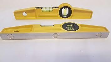 2 PCS New HI Viz Scaffolders 3 Rare Earth Magnetic Spirit Level 10 Inch  250 mm