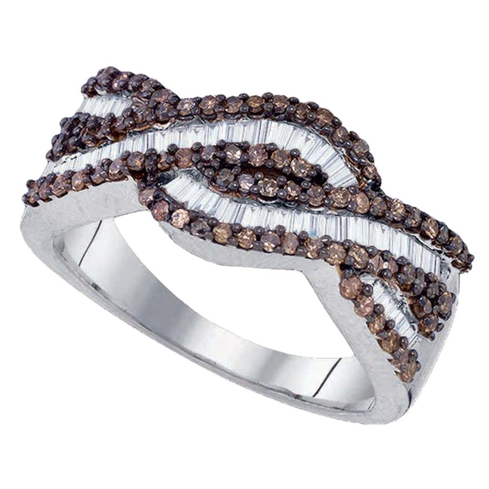 Sonia Jewels Size 8.5-925 Sterling Silver Invisible & Channel Set Round and Baguette Cut Chocolate Brown and White Diamond Ladies Womens Wedding Band OR Anniversary Ring (3/4 cttw.)