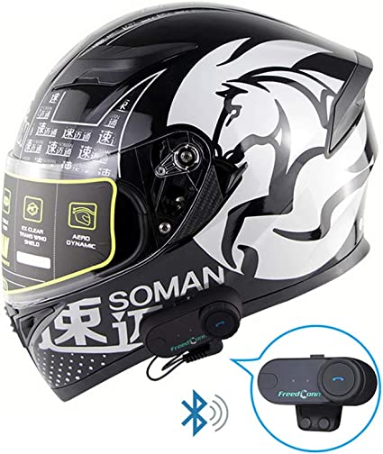 Full Face Motorrad Bluetooth Helme Modular Flip Up Musik Smart Helm Automatische Antwort Headset Helm Noise Free Anti Fog Doppel Visier A S 55 56cm Küche Haushalt