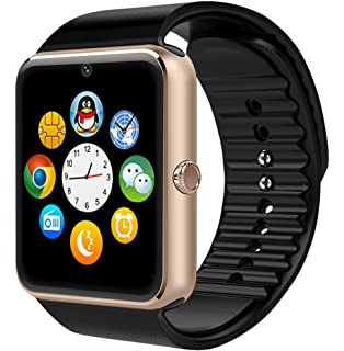 Bluetooth Smartwatch + Unlocked Watch Cell Phone for Android/iPhone Smart Phones (golden&black)