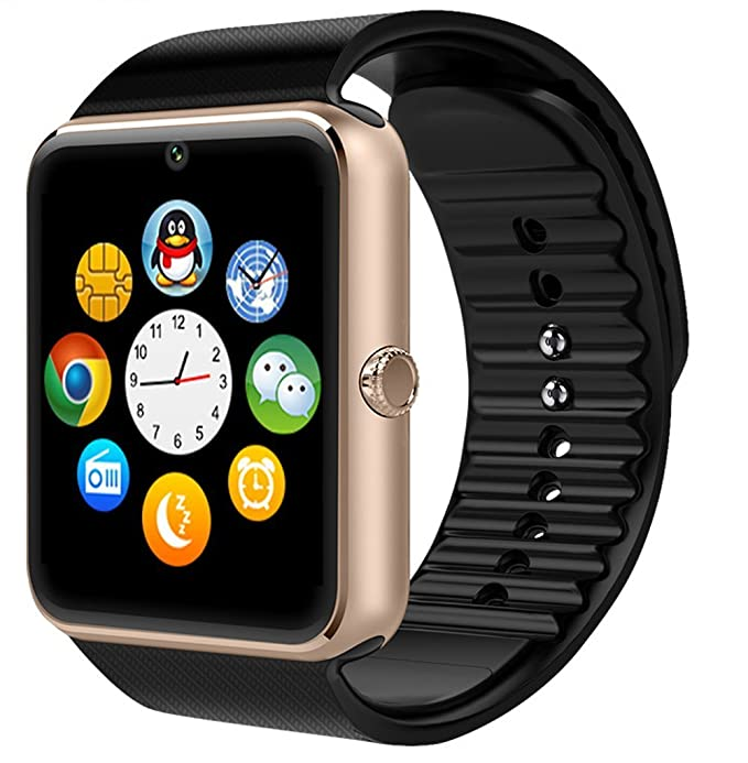 Bluetooth Touch Screen Smart Watch with Camera Sync Calls & Message Waterproof Smartwatch for Android Smart Phones (Golden)