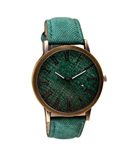 Charberry Mens Watch Retro Vogue Cowboy Leather Band Analog Quartz Watch (Green)