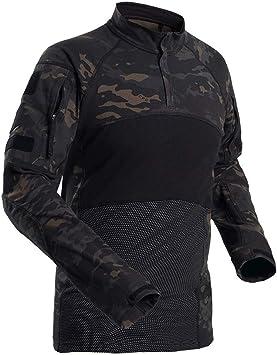 Specter Táctico Camisa Airsoft Militar Manga Larga Camuflaje Camisetas Algodón elástico Ligero y Transpirable para Hombres (Talla S-XXXL): Amazon.es: Deportes y aire libre