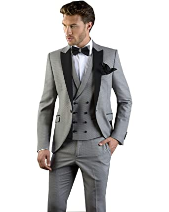 Mens Suit Slim Fit Three Piece Notch Lapel Casual Jacket ...