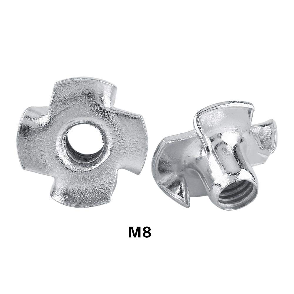 M8 Zinc Plated Carbon Steel T Nut Four-Pronged Tee Nuts for Woodworking Furniture T Nut