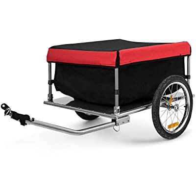 Cypress Shop Bike Trailer Bicycle Stands Cargo Freight Transporter Sturdy Wheels Removable Cover 500D Oxford Cloth 4 Foldable Poles Shelves Loading Capacity 88lbs Riding Leisure
