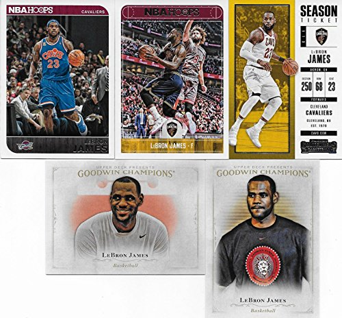 - Lebron James 5 Card Gift Lot Including 2017 Hoops, 2017 Contenders, 2014 Hoops and 2 Other Lebron Cards, Nice Mix Picturing Him in His White and Blue Cavaliers Jerseys
