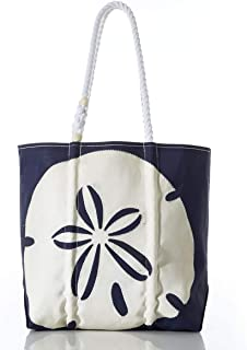 product image for Sea Bags Recycled Sail Cloth White on Navy Sand Dollar Tote