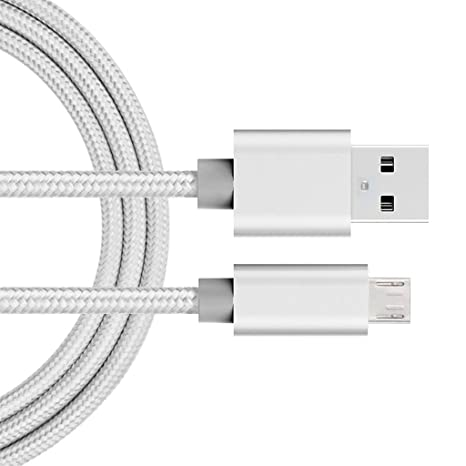 iMusi USB Cable Cargador, Cable de Carga Rápida para Android, USB Cable de Datos (2m, Nylon, Plata)