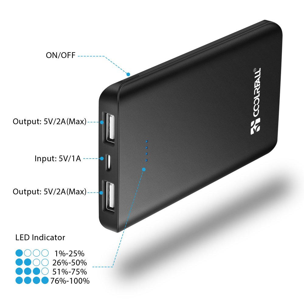 Samsung y Otros Huawei - 6000 mAh Cargador Port/átil para Apple iPhone X 8 7 6 Plus 6000 mAh Bater/ía Externa Coolreall Power Bank Versi/ón Actualizada