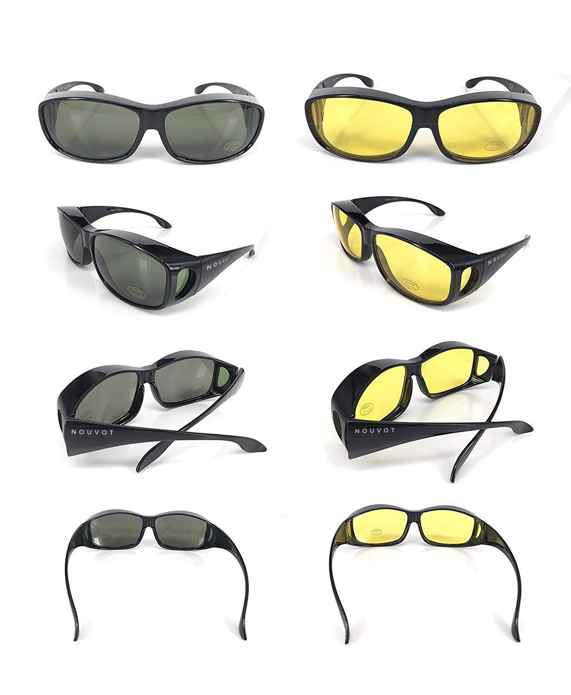 Gafas de sol superpuestas   Más gafas de sol - Más de gafas de sol - gafas de conducción y gafas de visión nocturna   Conjunto de 2 piezas   Para conducir ...