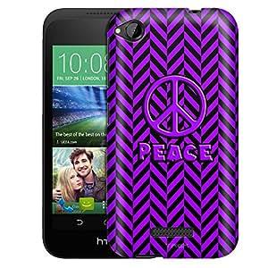 HTC Desire 320 Case, Slim Fit Snap On Cover by Trek Peace on Chevron Mini Purple Black Case