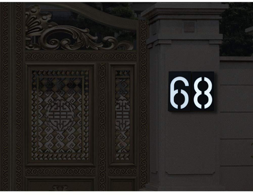 N/úmero de Casa con 6-LED Luz Solare puerta Villa hotel KEEDA Exterior L/ámpara Solar N/úmeros de Puerta para casa