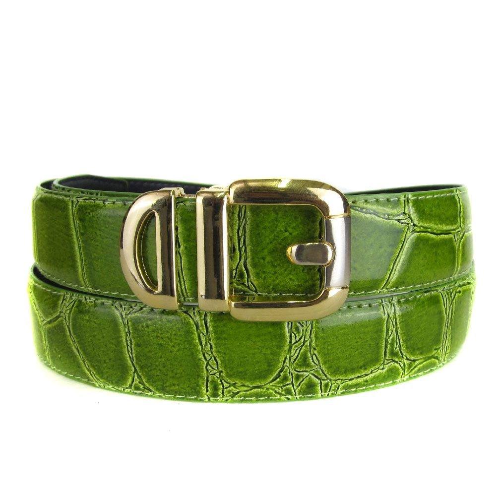 Green Bonded Alligator Skin High Quality Fashion Dress Belt