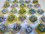 Scalloped Road Map Roses, Paper Flowers Set, Floral Wedding Decorations Lot of 24, 3D Table Decor, Bridal Shower Art, Travel Theme Party, USA Traveler 1.5'' Rosettes