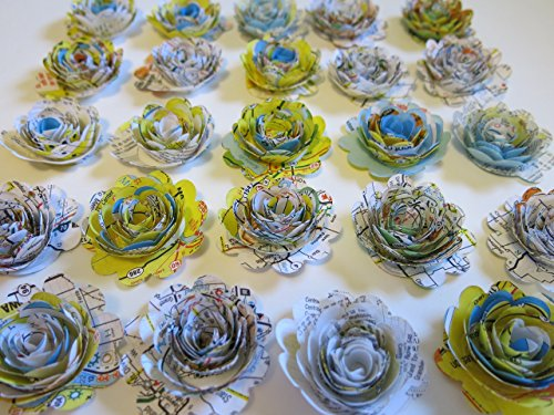 Bon Voyage Bouquet (Scalloped Road Map Roses, Paper Flowers Set, Floral Wedding Decorations Lot of 24, 3D Table Decor, Bridal Shower Art, Travel Theme Party, USA Traveler 1.5
