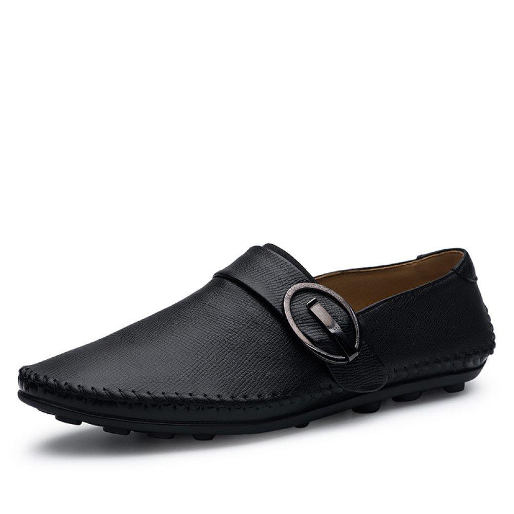 GTYMFH Frühling Schuhe Leder Herrenschuhe Freizeitschuhe Einzelne Schuhe Frühling Herren Lederschuhe schwarz 49eb49