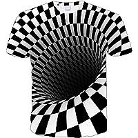 LALAGOU T-shirt voor jongens en meisjes, 3D-print, print, wervels, korte mouwen, gestreept, bedrukt, T-shirt met ronde…
