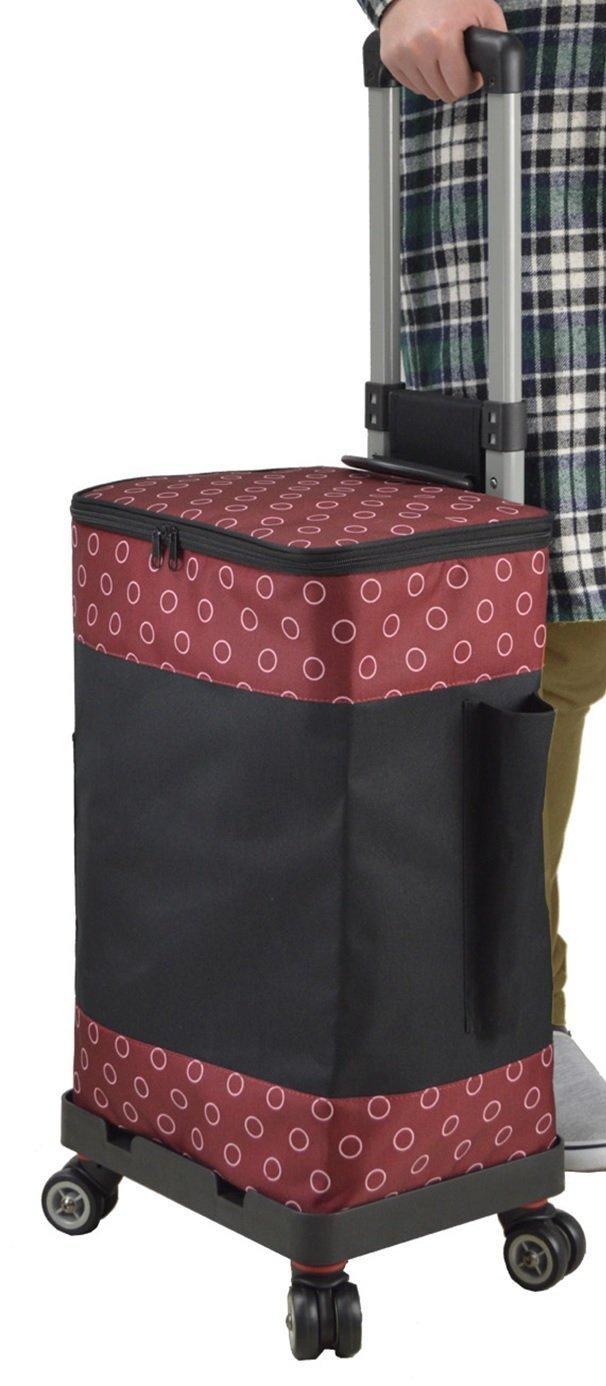 ショッピングカート ショッピングキャリーカート 4輪 保温保冷 33L (黒/赤) B0777BS619 黒/赤 黒/赤