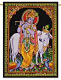 Lord Krishna Indian Decor Cotton Tapestry Poster Size Black Wall Hanging 42X30 Inches