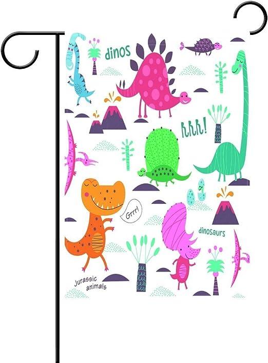 QQshiqI Dinosaur Plantas Banderas de Jardín Vintage Tela de poliéster encantador y resistente al moho decoración del hogar Custom of Waterproof 12.5 x 18 pulgadas: Amazon.es: Jardín
