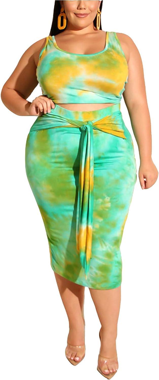 MarcoJudy Women Plus Size Tie Dye Bodycon 2 Piece Dresses Tank Crop Top Tie  Midi Skirts Set