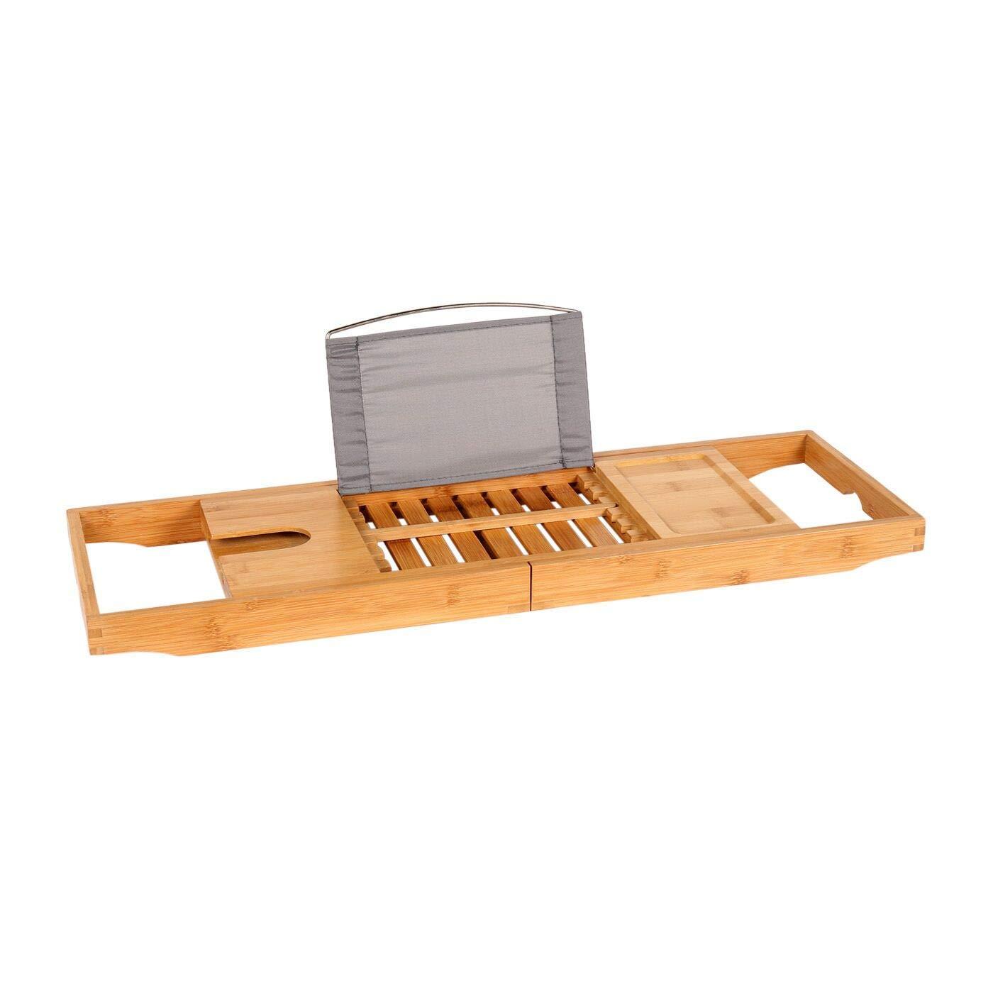 YAALO Bathtub Caddy Tray, Bathtub Stand Adjustable Bath Tray for Any Size Bath Tub Integrated Tablet, Bathtub Bridge Smartphone, Wine, Book Holders-A