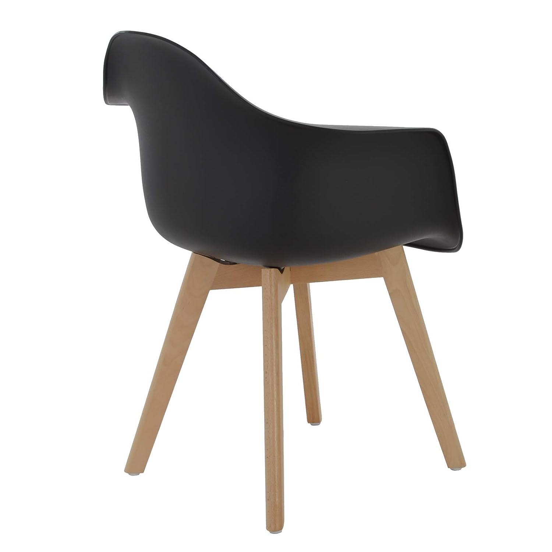 MACOShopde MACOShopde MACOShopde by MACO Möbel 2er Set Esszimmerstühle – Skandinavisches Retro Schalen Design - Küchenstühle aus Kunststoff, und Massivholz grau mit Armlehnen 8bf40a