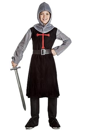 Disfraz de Caballero Medieval Negro 10-12 años: Amazon.es ...
