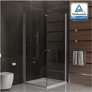 Cabina de ducha de vidrio templado, 90 x 90 cm, con esquina y ...
