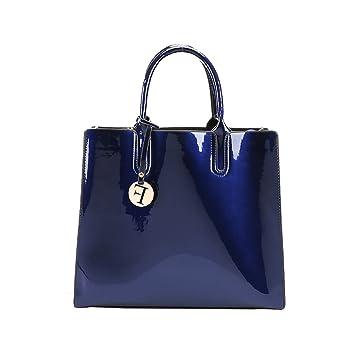 fa31ecc92a021 Coolives Damen Langer Schultergurt F Charme Glänzend PU Lack Leder  Handtasche Blau EINWEG