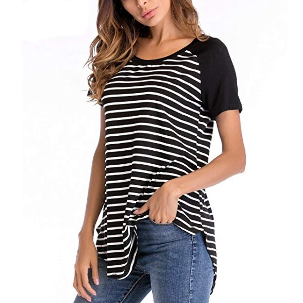 Innerternet Women T-Shirt Short Sleeve Stripe Round Neck Tops Blouse