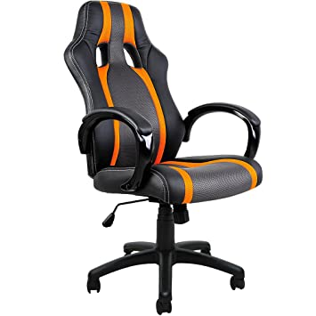Silla de Oficina Diseño Tipo Carreras PU Negro Naranja: Amazon.es: Hogar