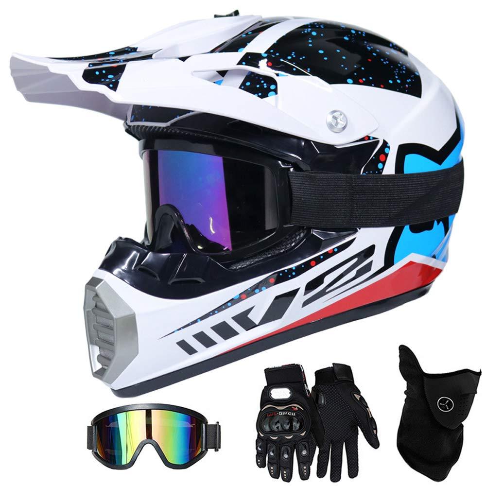 Motorbike MTB Freien Sport Motorcycle Helmet Set QYTK/® Motorradhelm Motocross Helm Kinder Schwarz und Wei/ß MT-60 Full Face Off-Road Motorrad Cross Helme mit Brille Maske Handschuhe