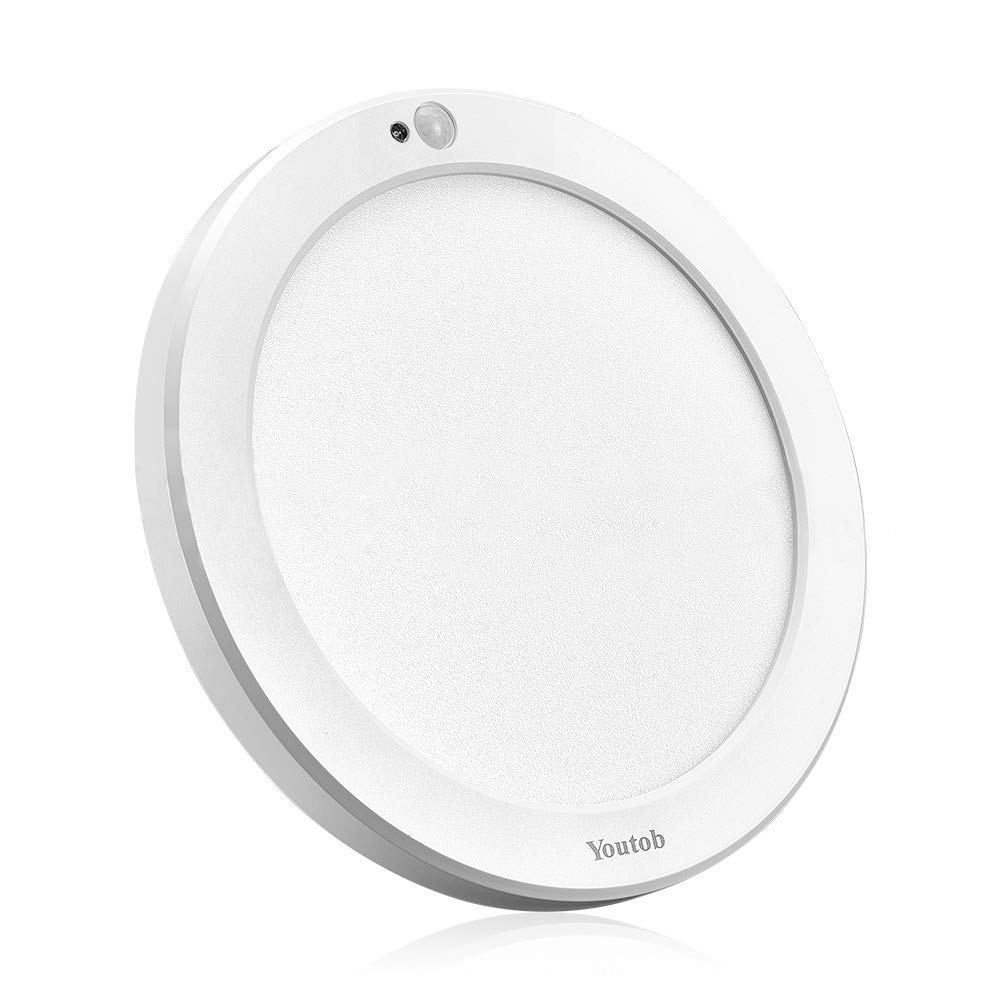 Youtob Motion Sensor Light LED Ceiling Light with 30s/180s Timeout Adjustable 3 Colors,15W 1500lm Round Lighting Fixture for Porches, Closets, Stairs(3000k/4000k/5000k Available) (White)