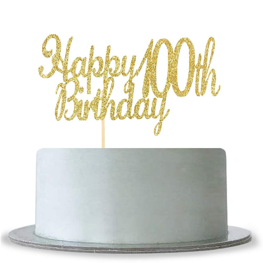 Amazon Happy 100th Birthday Cake Topper Gold Glitter Hello 100 Fabulous Anniversary Party Decoration Kitchen Dining