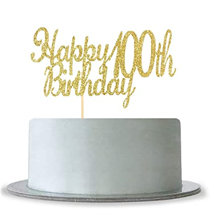 Amazon Happy 100th Birthday Cake Topper Gold Glitter Hello 100