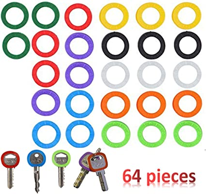 20 Pezzi Etichette per Copertine di Chiave Flessibile Cover Chiave in Plastica Anelli Identificatore Chiave per Chiavi di Facile Identificazione 10 Colori