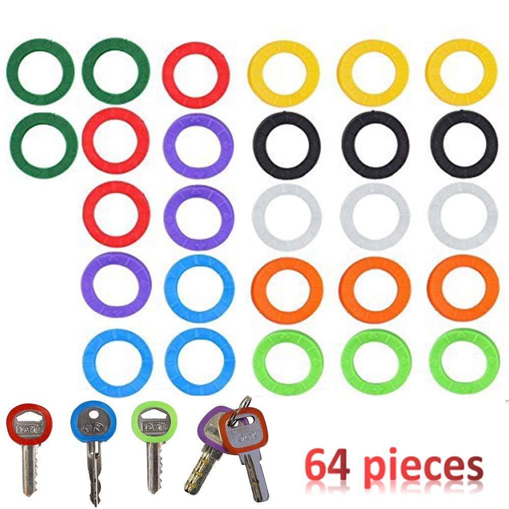 64 St/ück Nuluxi Schl/üsselring Anzeige Kappe Schl/üsselkappen Ringe Verschiedenen Farben Schl/üsselschutz Einfach Identifizieren Verschiedene Schl/üssel f/ür Runde Schl/üsselk/öpfe mit Standardgr/ö/ße-22x 4mm