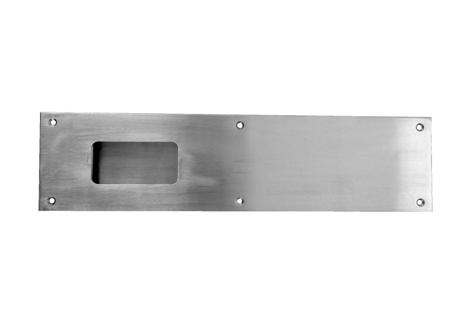 Don-Jo 1860 16 Gauge Stainless Steel Flush Cup Pull, Satin Stainless Steel Finish, 4'' Width x 16'' Height x 3/4'' Depth