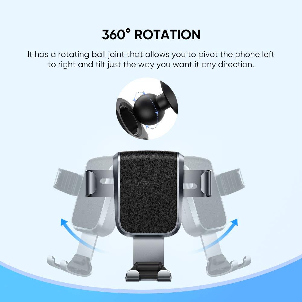 UGREEN Support T/él/éphone Voiture Gravit/é en Aluminium Angle R/églable /à Grille dA/ération Compatible avec iPhone XS Max XR X 8 7 Samsung S10 S9 S8 J6 A50 Huawei P20 Lite Redmi Note 7 2019 Version