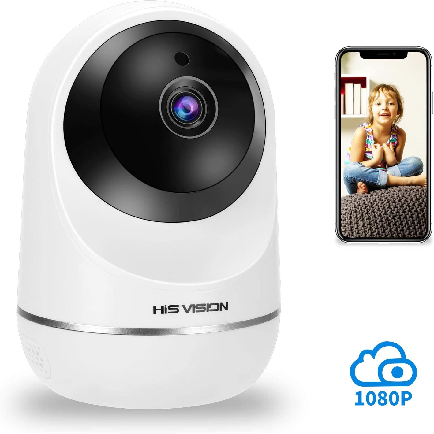 HISVISION Wireless 1080P IP Camera, WiFi Home Security Surveillance HD Camera Activity Detection Alert,Motion Tracking Baby Pet Monitor Nanny Cam, Night Vision Two-Way Audio with SD Card Slot Cloud