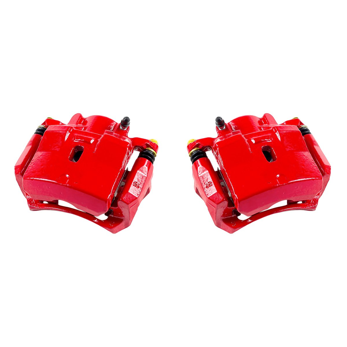 CCK01569 2 FRONT Performance Grade Red Powder Coated Semi-Loaded Caliper Assembly Pair Set
