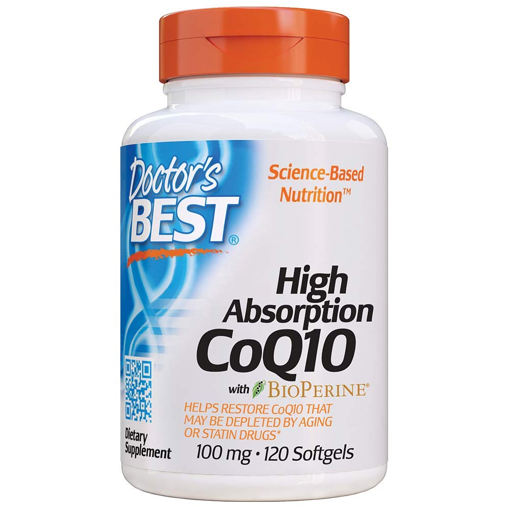 Doctor's Best High Absorption CoQ10 with BioPerine, Gluten Free, Naturally Fermented, Heart Health, Energy Production,100 mg 120 Softgels by Doctor's Best